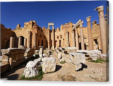 The Basilica Of Severus At Leptis Magna In Libya Canvas Print by Robert Preston