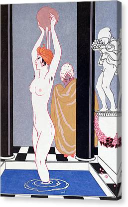 Shower Canvas Print - The Basin by Georges Barbier