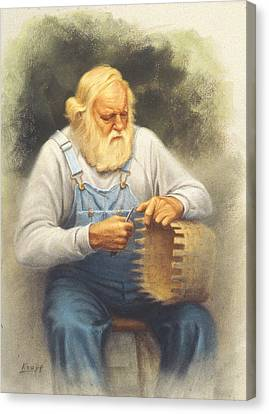 The Basketmaker In Pastel Canvas Print