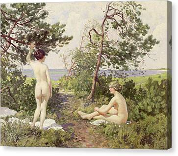 Two Suns Canvas Print - The Bathers by Paul Fischer