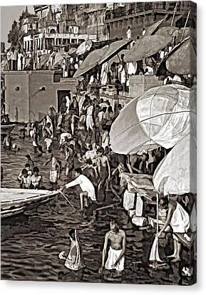 The Bathing Ghats Sepia Canvas Print by Steve Harrington