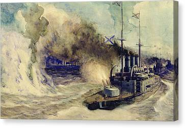 The Battle Between The Black Sea Fleet And The Armoured Cruiser Goeben Canvas Print by Mikhail Mikhailovich Semyonov