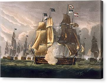 The Battle Of Cape St Vincent Canvas Print by Thomas Whitcombe