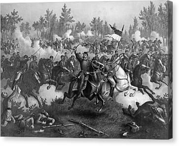 The Battle Of Cedar Creek, Oct. 19th, 1864, Pub. By Kurz & Allison, Chicago, 1890 Engraving Bw Photo Canvas Print by American School