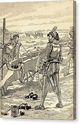 The Battle Of Marignano, 1515.  From Agenda Buvard Du Bon Marche Published 1917 Canvas Print