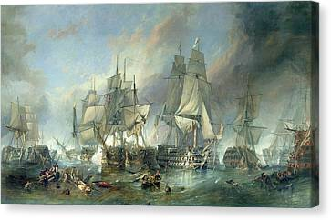 The Battle Of Trafalgar, 1805 Canvas Print by Clarkson RA Stanfield