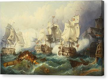 The Battle Of Trafalgar Canvas Print by Philip James de Loutherbourg