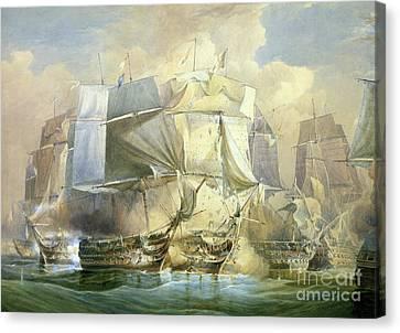 The Battle Of Trafalgar Canvas Print by William John Huggins