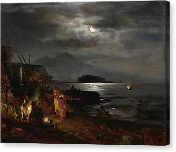 The Bay Of Naples In The Moonlight  Canvas Print by Celestial Images