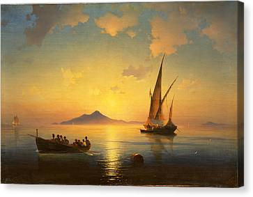 The Bay Of Naples Canvas Print by Ivan Konstantinovich Aivazovsky