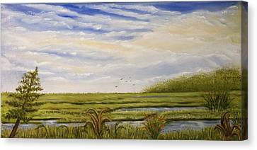 Canvas Print featuring the painting The Bay Side Of The Shore by Susan Culver