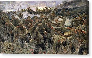 The Bayonet Fighting, 1904 Oil On Canvas Canvas Print by Pyotr Pavlovich Karyagin