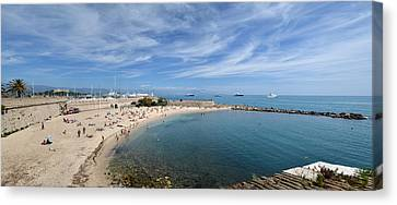 Canvas Print featuring the photograph The Beach At Cap D' Antibes by Allen Sheffield