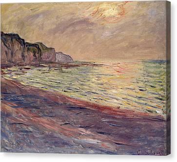 The Beach At Pourville, Setting Sun Canvas Print