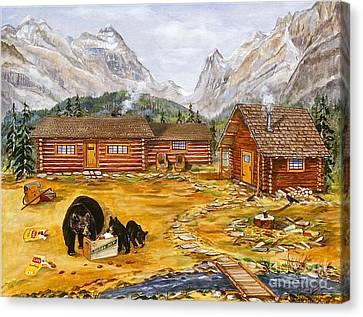 The Bear's Picnic Canvas Print by Virginia Ann Hemingson