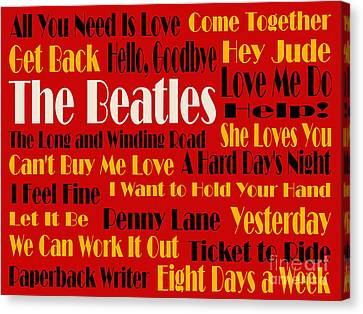 The Beatles 20 Classic Rock Songs 2 Canvas Print by Andee Design