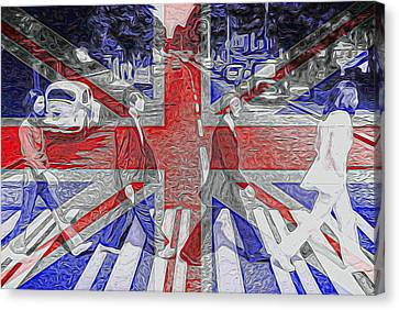 The Beatles Abbey Road Uk Flag Canvas Print