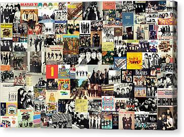 Mix Media Canvas Print - The Beatles Collage by Taylan Apukovska