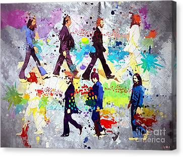 The Beatles Grunge Canvas Print by Daniel Janda