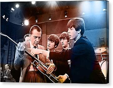 The Beatles On The Ed Sullivan Show Canvas Print by Marvin Blaine