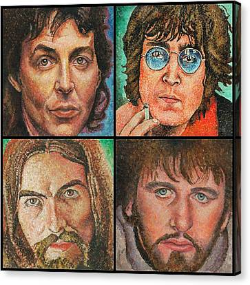 Canvas Print featuring the painting The Beatles Quad by Melinda Saminski