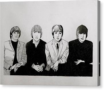 Four Strawberries Canvas Print - The Beatles Study  by Maria Espach