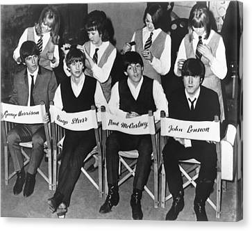Medium Group Of People Canvas Print - The Beatles by Underwood Archives