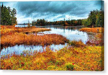 Hdr Landscape Canvas Print - The Beautiful Raquette Lake by David Patterson