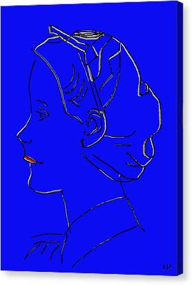 The Beautiful Virgin Chambermaid Blue Canvas Print by Sir Josef - Social Critic - ART