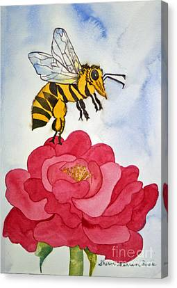 Canvas Print featuring the painting The Bee And The Rose by Shirin Shahram Badie