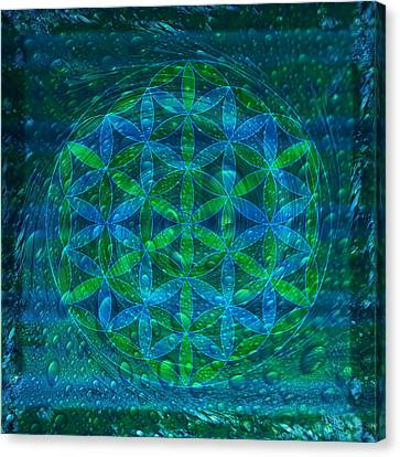 The Begining - Water Flower Of Life Mandala Canvas Print by Iwona Sicinska