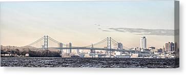 The Ben Franklin Bridge From Penn Treaty Park Canvas Print by Bill Cannon