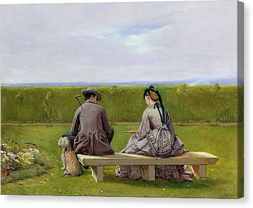 The Bench By The Sea Canvas Print