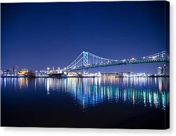 The Benjamin Franklin Bridge At Night Canvas Print by Bill Cannon