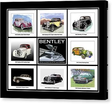 Bentley Poster Of Classics Canvas Print by Jack Pumphrey