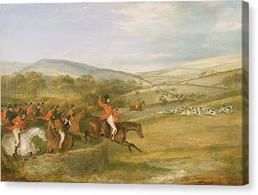 The Berkeley Hunt, Full Cry, 1842 Canvas Print by Francis Calcraft Turner