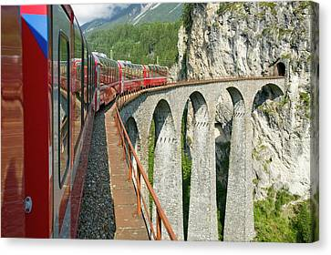 Bahn Canvas Print - The Bernina Glacier Express by Ashley Cooper