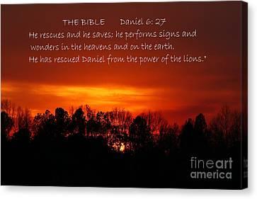 The Bibles Says.... Daniel 6 Vs 27 Niv Canvas Print