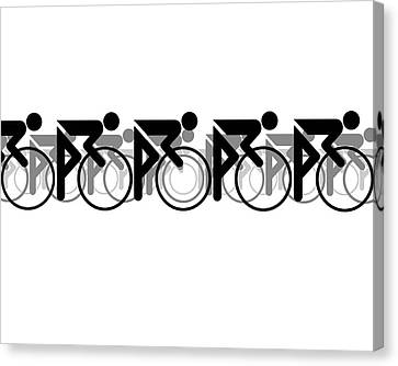 Canvas Print featuring the digital art The Bicycle Race 2 White by Brian Carson