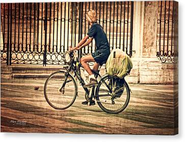 Wrought Iron Bicycle Canvas Print - The Bicycle Rider - Leon Spain by Mary Machare