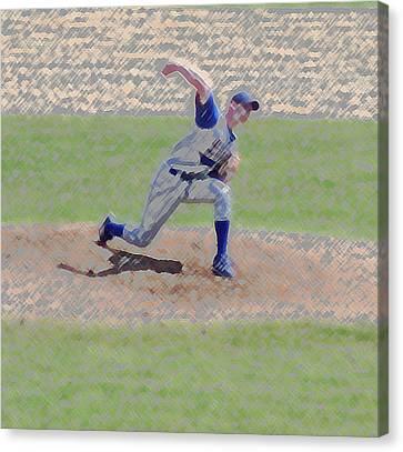 The Big Baseball Pitch Digital Art Canvas Print by Thomas Woolworth