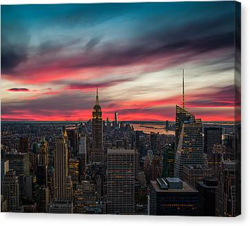 New York City Skyline Canvas Print - The Big Red Apple by Peter Irwindale