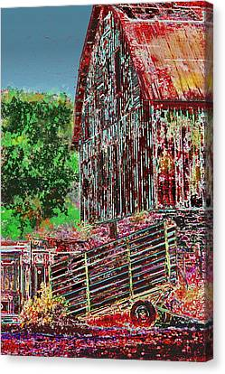Barn Storm Canvas Print - The Big Red Barn by Candice Floyd