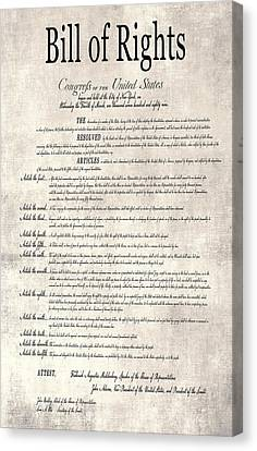 The Bill Of Rights Parchment Canvas Print by Daniel Hagerman