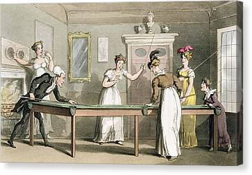 The Billiard Table, From The Tour Of Dr Canvas Print by Thomas Rowlandson
