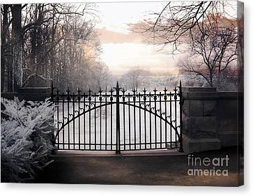 The Biltmore House Gates - Biltmore Estate Mansion Gate Nature Landscape Canvas Print by Kathy Fornal