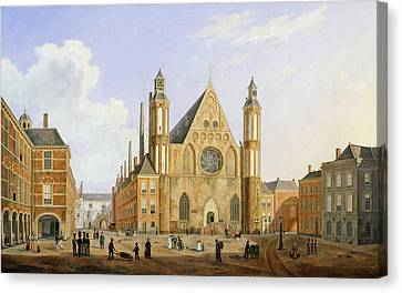 The Binnenhof In The Hague With A View Canvas Print by Augustus Wynantz