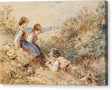 The Bird's Nest Canvas Print by Myles Birket Foster