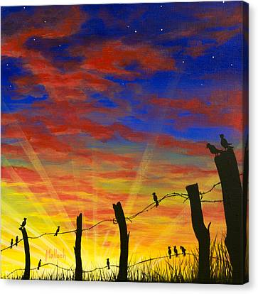 The Birds - Red Sky At Night Canvas Print