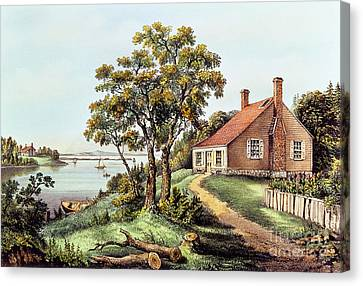 The Birthplace Of Washington At Bridges Creek Canvas Print by Currier and Ives